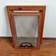 厂家订做批发 铝合金边框金钢网纱窗 红木纹色 批发框中框纱窗