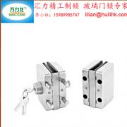 不锈钢砂光方形锁双门双开带旋钮中央玻璃门锁机械锁无框玻璃门锁