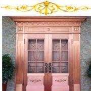 厂家定制中式简约双开玻璃铜门 玻璃防盗门对开浮雕铜门进户门