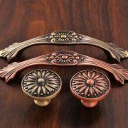 索菲亚同款衣柜橱柜拉手 现代简约衣柜抽屉单孔五金红古铜门把手