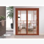 豪华中空门系列 HC-005红酸枝 中空+格条+装饰花 室内推拉移动门