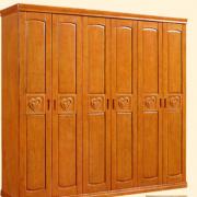 全实木简易衣柜复古简约卧室新中式橡木衣橱推拉门储物
