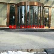 石家庄镀铜旋转门价格 售楼部旋转门安装 宏亚门业
