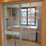 厂家直销木质厨房客厅隔断门 透明推拉门 玻璃透光简约推拉门定制