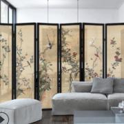 新中式折叠屏风实木酒店餐厅茶楼办公室隔断活动客厅隔断移动折屛