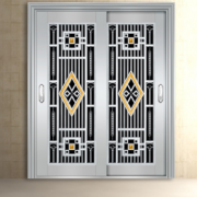 福美康 定制 304不锈钢双开大门 不锈钢防盗门 不锈钢庭院门