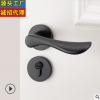 厂家直销批发静音黑色太空铝门锁分体锁卧室木门把手室内房间门锁