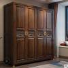 新中式实木衣柜胡桃木卧室多功能组合大衣橱收纳柜现代简约家具