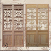 厂家免费测量加工定制茶楼实木花格仿古门窗古建木质镂空雕刻门窗