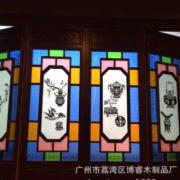 承接仿古古建岭南风格实木玻璃工艺满洲门窗定制 西关风格满洲窗