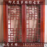 东阳木雕仿古花格窗镂空印尼菠萝格中式雕刻屏风隔断窗户厂家定做