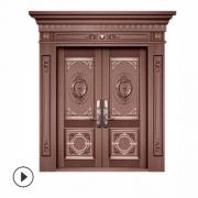 定制纯铜别墅大门 不锈钢镀铜双四开子母门 铜门 仿铜门