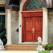 中欧式实木大门厂定做雕刻实木双开大门 别墅入户门