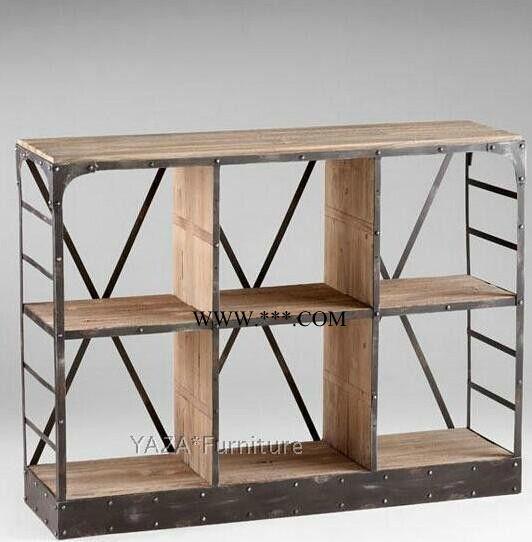 美村复古工业风格置物架 实木书柜做旧铁艺书架 老松木收纳架定做