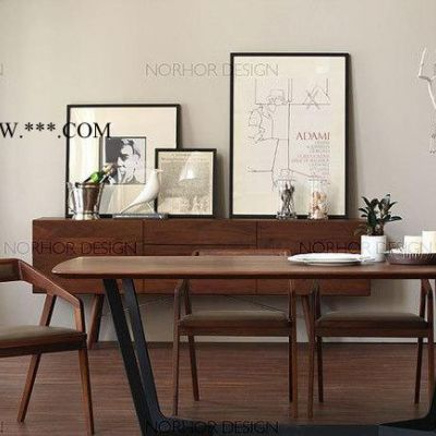 实心铁桌脚桌子复古实木餐桌办公桌做旧松木咖啡桌防锈铁艺会议桌