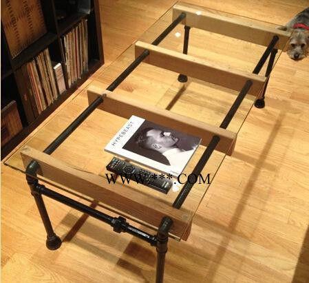 美式乡村复古铁艺水管创意玻璃实木桌餐桌定做简约松木茶几沙发桌