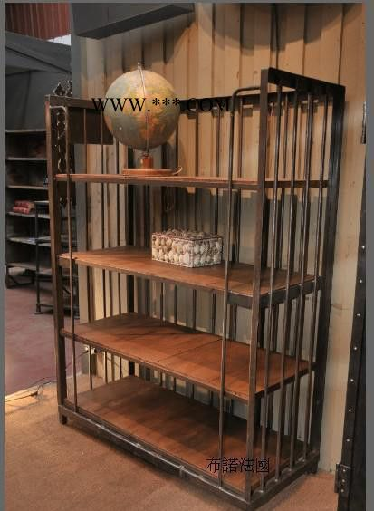 工业金属储蓄架 陈列柜 钢铁松木四层书架 置物架 靠墙展示架定做