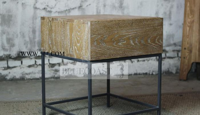 美式铁艺床头柜 茶几抽屉柜储物柜 复古实木边几松木收纳箱 定做