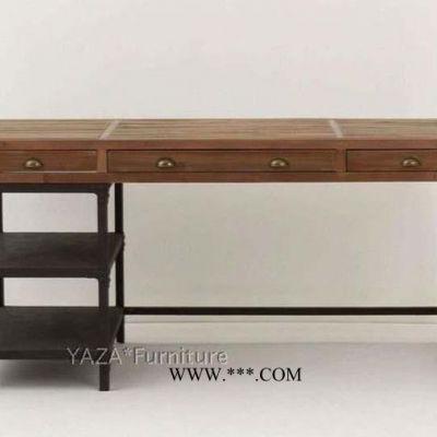 复古写字桌怀旧复古松木书桌 铁木桌黑色白色古铜色实木定做