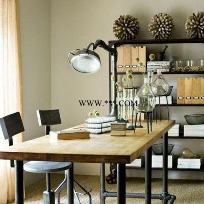 美式实木松木茶桌铁艺水管长桌LOFT工业风格金属水管茶几餐桌定做