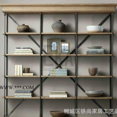 家居松木书架实木书柜杂货架铁艺实木置物架铁木杂货柜展示架定做