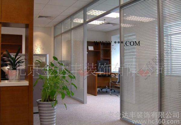 ,办公室双层玻璃隔断含木门玻璃门